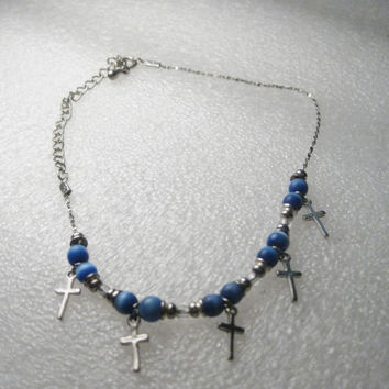 """Cross and Blue Moonstone Beaded Ankle Bracelet, 8"""" - Silver tone, with 3"""" extender chain"""