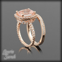 14kt Rose Gold Morganite Engagement Ring Set with Diamonds all over - LS2315