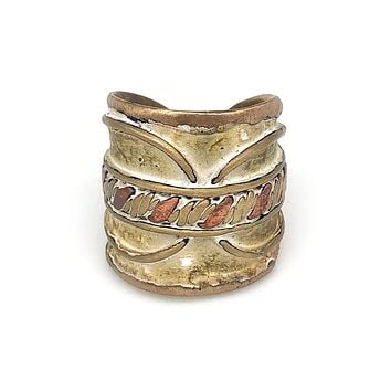 Anju Brass Patina Adjustable Cuff Ring in Cream With Twisted Metal