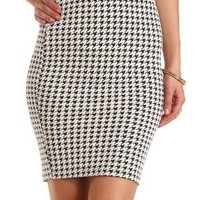 Jacquard Houndstooth Pencil Skirt by Charlotte Russe - Black/White