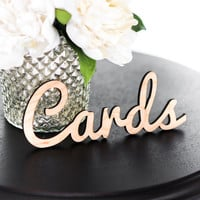 """Card Sign for Wedding Cutout in Wood for Party Card Table """"Cards"""" Wooden Rustic Wedding Sign for Reception Decor (Item - LCA100)"""