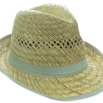 Straw Mint Banded Raffia Fashion Fedora Straw Hat w/Trim