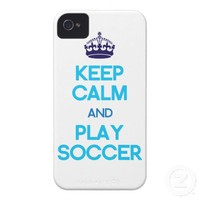 Keep Calm And Play Soccer (Blue) iPhone 4 Case-Mate Case from Zazzle.com