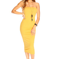 Mustard Strapless Ribbed Sexy Summer Midi Party Dress