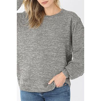 Relaxed Fit Balloon Sleeve Melange Knit Sweater Top