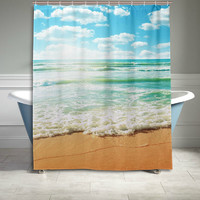 Coast of Beach at Sunny Day Sunset Seaside Shower Curtain Ocean Sea Wave Bathroom Sets Home Decor Polyester Fabric 60 X 72 Inches