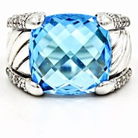 DAVID YURMAN Sculpted Cable Ring in Sterling Silver Blue Topaz & Diamonds Size 6