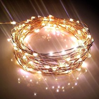 Qualizzi LED Starry Lights For Indoors / Outdoors Seasonal Decorations. Stylish Copper Wire String Lights, Rope Lights. A Must Have Garland Lights on Any Celebration, Wedding or Party (20ft,120 Leds, Warm White)