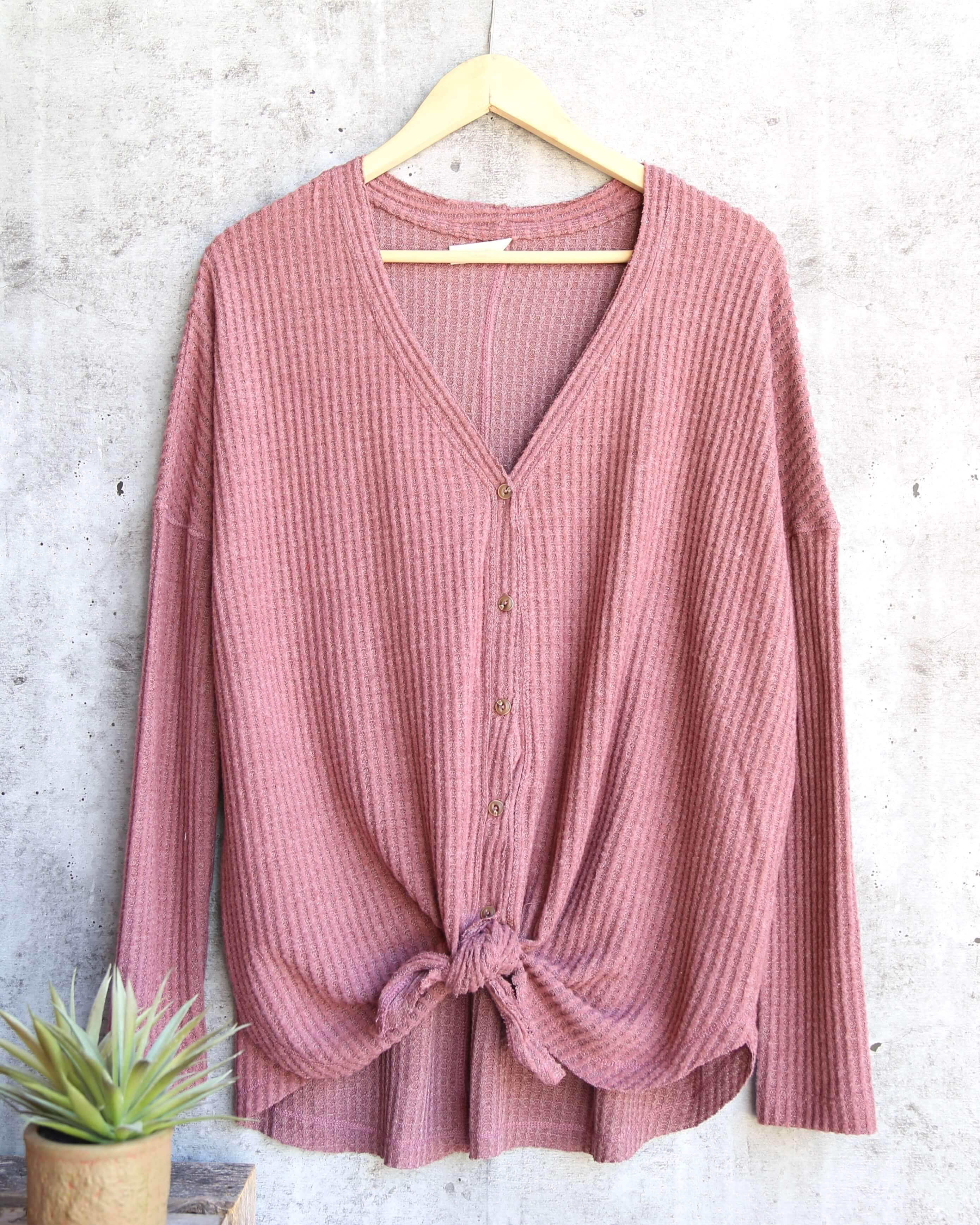 Image of EVA Long Sleeve Thermal Waffle Knit V-Neck Button Down Lightweight Sweater in Red Bean