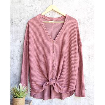 EVA Long Sleeve Thermal Waffle Knit V-Neck Button Down Lightweight Sweater in Red Bean
