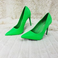 """Scaled Bright Neon Green Snake 4.5"""" High Heel Stiletto Shoes Pointy Toe Pumps"""