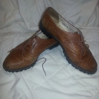 Vintage Women's 90s Bally Brown Leather Lace Up Oxfords - Made in Switzerland - Size 7