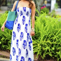 Violets Are Blue Maxi Dress: White | Hope's