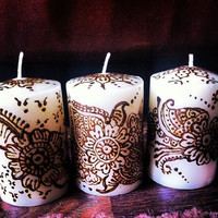 Set of 3 Beautiful Henna Candles