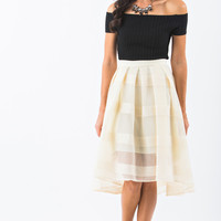 Maggie Ivory Stripe Sequin Skirt
