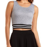 Striped-Band Quilted Crop Top by Charlotte Russe
