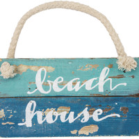 Beach House - Weathered Beach Décor Hanging  Sign  7-in