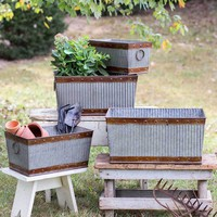 Set of Four Corrugated Rectangle Bins