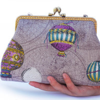 Hot Air Balloon Clutch Bag purple Cosmetic Case Makeup by lazydoll
