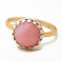 Peruvian Pink Opal Ring, 14K Gold Fill Ring, Handmade Engagement Ring, Pink Gemstone Cocktail Ring, Opal Wedding Ring