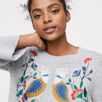 Peacock Embroidered Sweater | LOFT