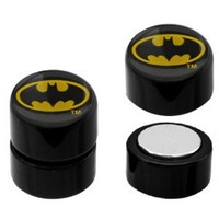 No Piercing Required - 316L Surgical Steel Magnetic Batman Logo Fake Plugs - Sold as a Pair