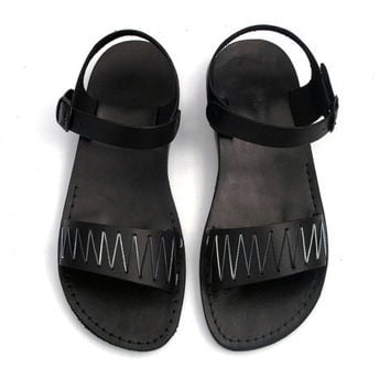 Black Leather Sandals with Black and Grey -  ZigZag Pattern - US Size 8 / 8.5 / 9 / 10 / 11 / 12 EU Size 41 / 42 / 43 / 44 / 45 / 46