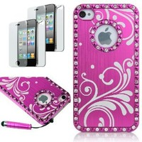 Pandamimi Deluxe Rose Pink Chrome Bling Crystal Rhinestone Hard Case Skin Cover for Apple iPhone 4 4S 4G With 2 Pcs Screen Protector and Pink Stylus
