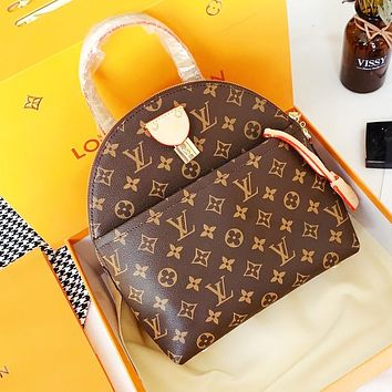 LV Louis Vuitton Fashion Women Men Leather Daypack School Bag Bookbag Backpack