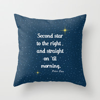 "Peter Pan ""Second star to the right and straight on 'til morning"" Throw Pillow by Natura Picta"