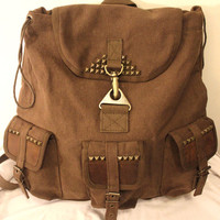 New Studded Army Utility Backpack Brown - Free Shipping