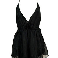 Black V-Neckline Romper with Strappy Back Detail