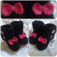 Bow Tie Baby Booties Shoes (shown in black with a Hot Pink Accent) with button closure. your choice of colors