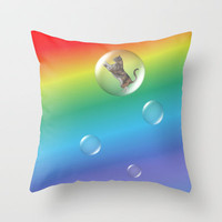 Bubble Cat Floating To The Rainbow Throw Pillow by FlaminCat Designs