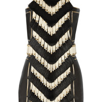 Balmain - Embellished leather mini dress