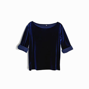 Vintage 90s Velour Top in Midnight Blue / Boatneck Velvet Top / Navy Blue Velvet - women's medium