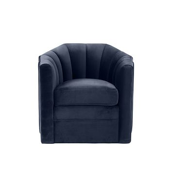 Midnight Blue Velvet Swivel Chair | Eichholtz Delancey
