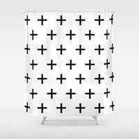 Shower Curtain - Swiss Cross - Black and White Shower Curtain - Bathroom Decor - Black and White - Modern Shower Curtain - Home Decor