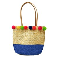 Blue Pom Pom Straw Purse Beach Tote Bag 349445