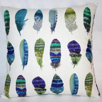 "Watercolor Feathers Pillow in White Cotton, Purple, Blue, Green, Turquoise Print, 17"" Sq, Bird Lovers Gift, Cover Only or Insert  Included"