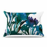"""Ebi Emporium """"Petal For Your Thoughts Teal"""" Turquoise Green Pillow Case"""