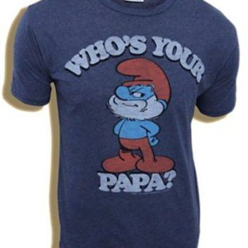 Junk Food Smurfs Papa Smurf Who's Your Papa Navy Adult T-shirt