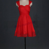 2014 red chiffon knee length bridesmaid dresses,cheap cute sweetheart bridesmaid gowns,simple elegant dress for wedding party.