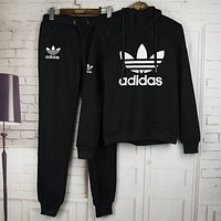 Adidas???winter new printing leisure sweater hooded zipper suit