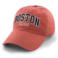 Boston Baseball Cap Adjustable Soft Red. Great to wear to a game at Fenway or to support Boston