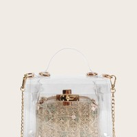 Clear Bag With Embroidered Inner Clutch