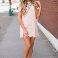 Forever & Ever Ruffle Cold Shoulder Lace Shift Dress (Light Peach)