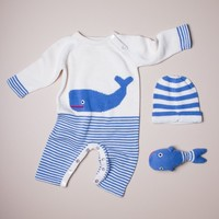 Organic Baby Gift Set - Handmade Newborn Long Romper, Hat & Rattle Toy | Whale