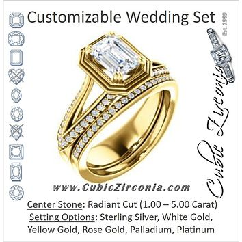 CZ Wedding Set, featuring The Reina engagement ring (Customizable Ridged-Bevel Surrounded Radiant Cut with 3-sided Split-Pavé Band)
