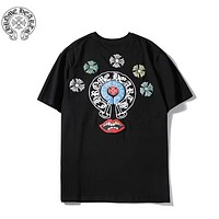 Chrome Hearts Fashion New Pattern Print Women Men Leisure Top T-Shirt Black